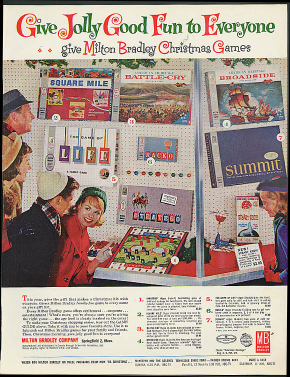 Milton Bradley Game ad 1962 Broadside Battle-Cry Square Mile Stratego Summit +