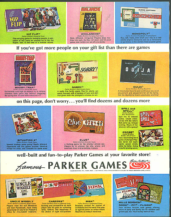 Parker Brothers Game ad 1968 Hip Flip Ouija Situation 4 Uncle Wiggily Sorry! +