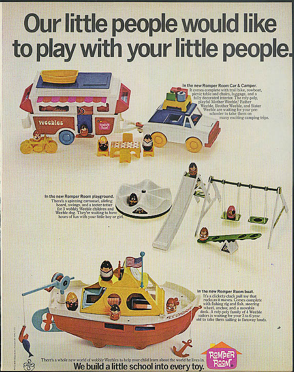Our little people would like to play with yours Romper Room toys ad 1973