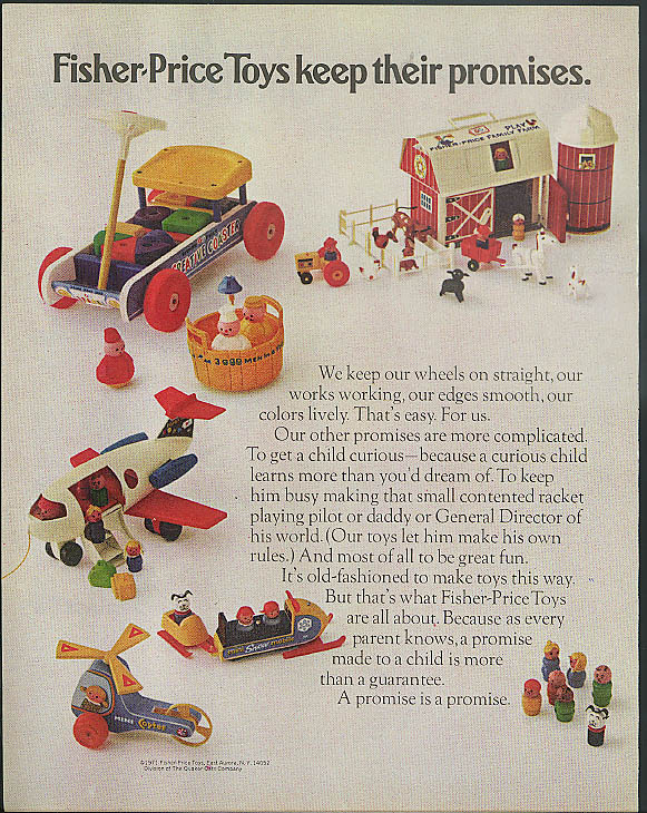 Fisher-Price Toys keep their promises ad 1971 Coaster Airplane Snowmobile +