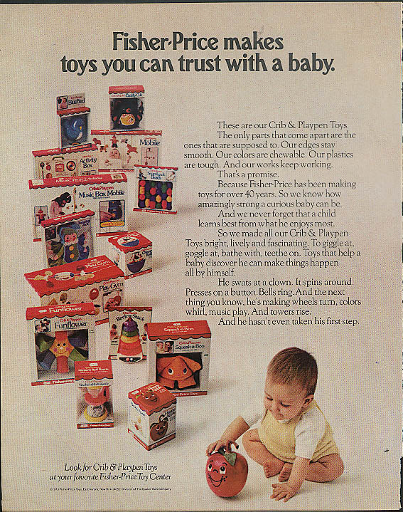 Fisher-Price makes toys you can trust with a baby ad 1973 Funflower Squeak-a-Boo