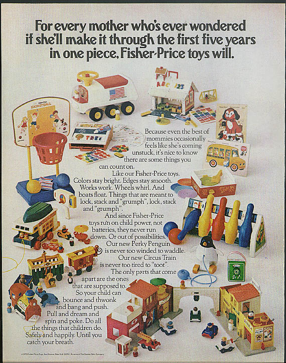 The first five years Fisher-Price ad 1973 Bowling Basketball Perky Penguin +