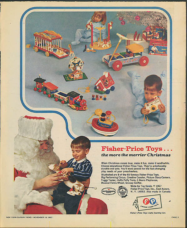 Fisher-Price Toys Christmas ad 1967 Coaster Camera Train Ferris Wheel +