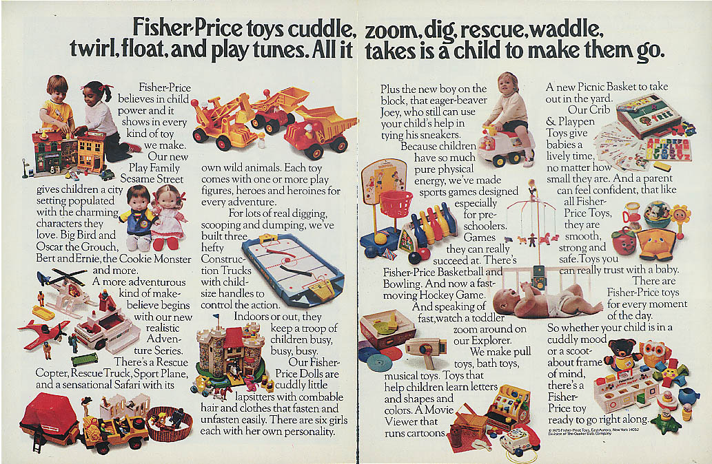 Fisher-Price Toys cuddle zoom dig rescue waddle twirl float & play tunes ad 1975