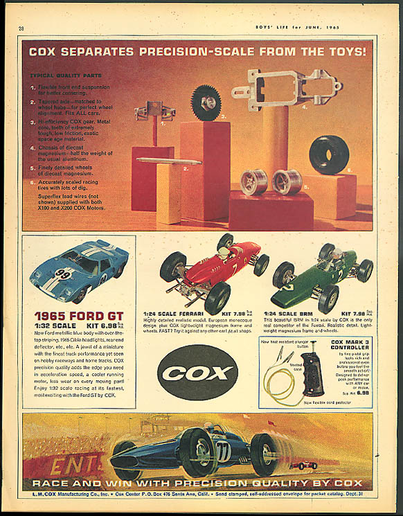 Cox separates precision-scale from toys ad 1965 Ford GT Ferrari BRM