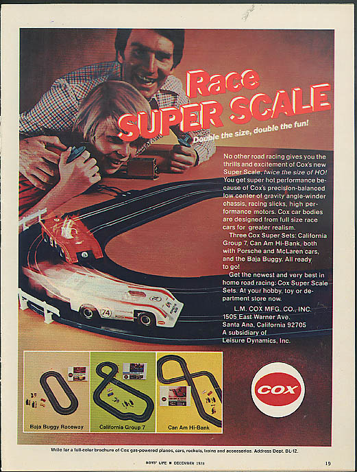 Race Super Scale Cox Racing Set ad 1973 Porsche McLaren Baja Buggy +