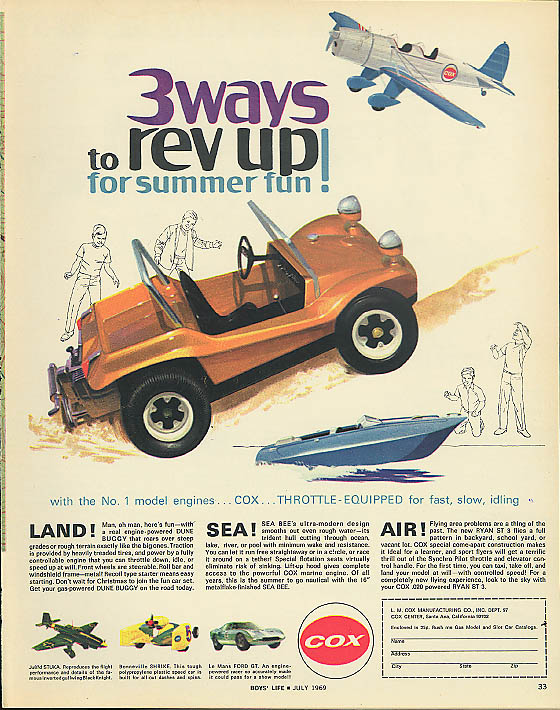 3 ways to rev up! Cox Dune Buggy Sea Bee Ryan ST 3 ad 1969