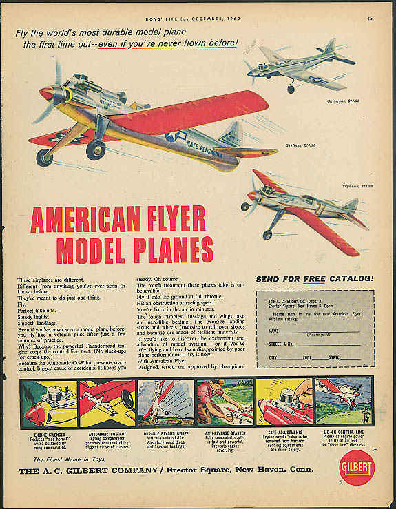 American Flyer Model Planes ad 1962 Skyflash Skystreak Skyhawk