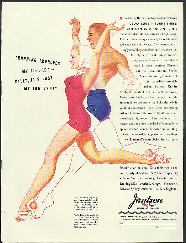 Image for Running improves my figure? Jantzen Swimsuit ad 1939 Petty pin-up