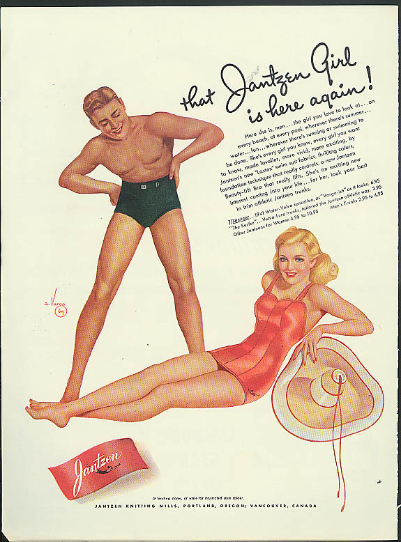 That Jantzen Girl is here again! Jantzen Swimsuit ad 1941 Vargas pin-up