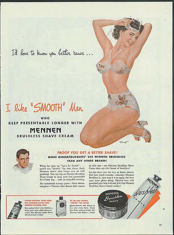 Image for I'd love to know you better Mennen Skin Bracer ad 1946 Mingo pin-up