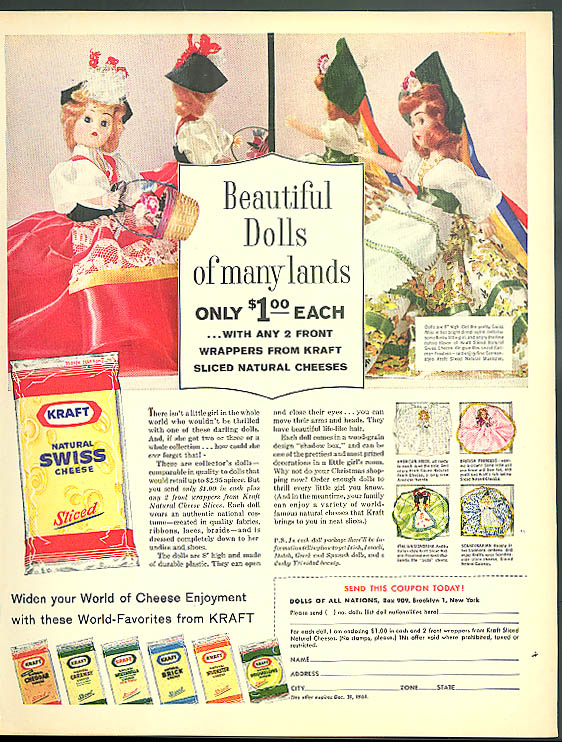 Beautiful Dolls of Many Lands Jraft Swiss Cheese offer ad 1961