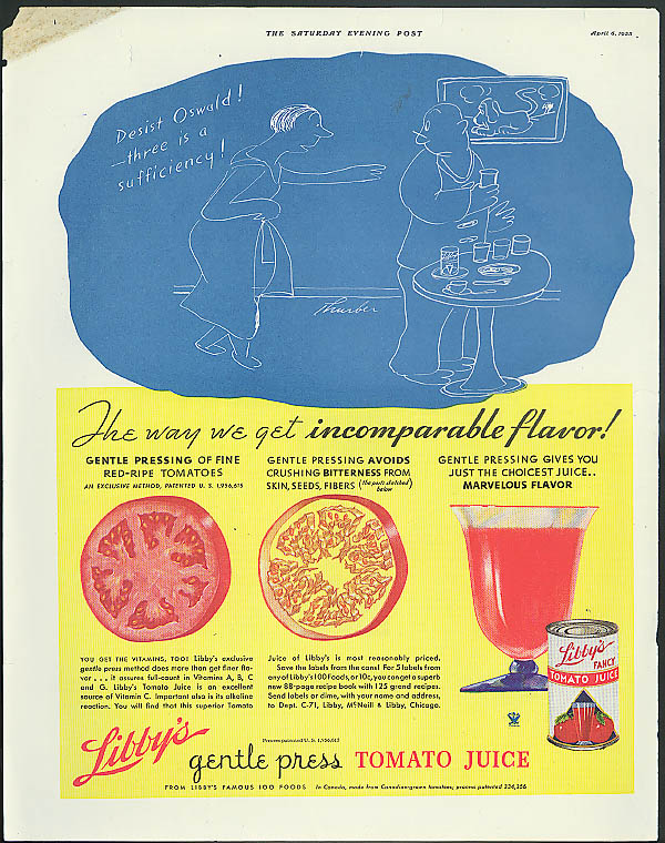 Desist Oswald! Libby's Tomato Juice ad 1935 James Thurber cartoon