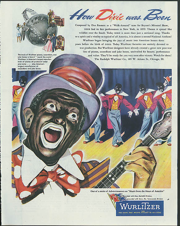 Image for How Dixie Was Born Bryants' Minstrel Show Wurlitzer Juke Box ad 1945