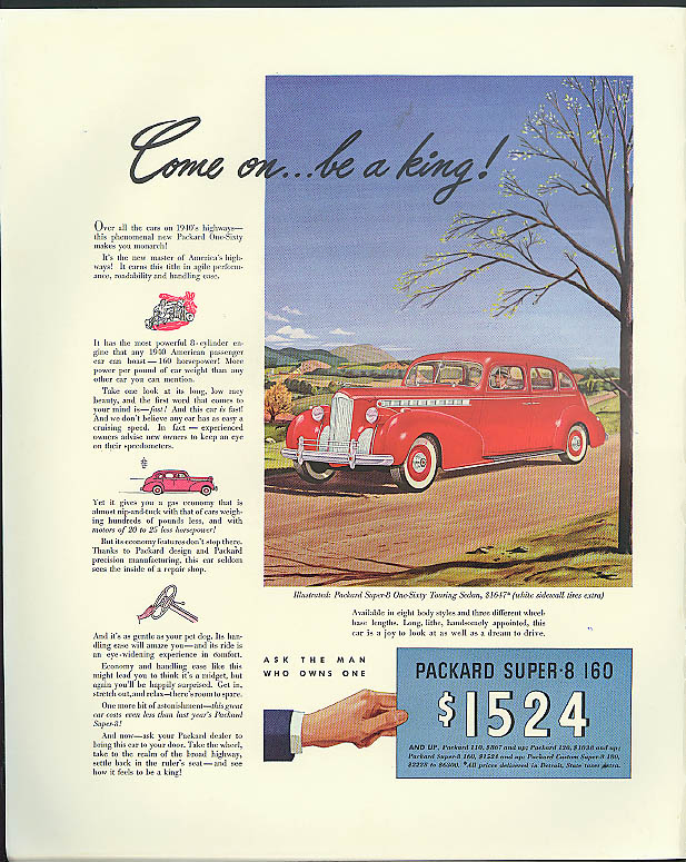 Image for Come on . . . be a king! Packard Super-8 160 Touring Sedan ad 1940