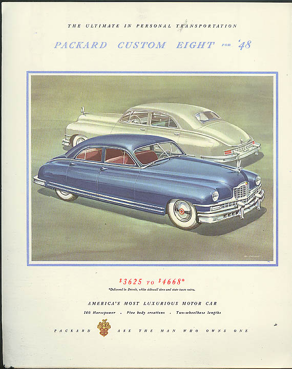 Packard Custom Eight ad / Diesel Locomotives Fortune cover 1948 Lewandowski