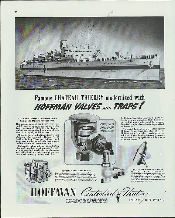 Image for USAHS Chateau Thierry Hoffman Valves & Traps ad 1944