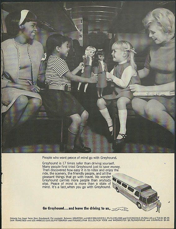 People who want peace of mind go Greyhound Bus ad 1967 Negro & White girls