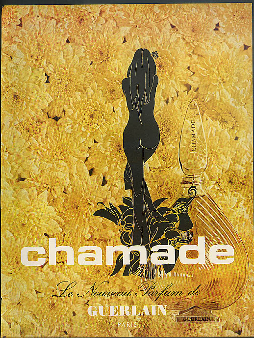 Chamade Le Nouveau Parfum de Guerlain ad 1970 nude drawing from behind