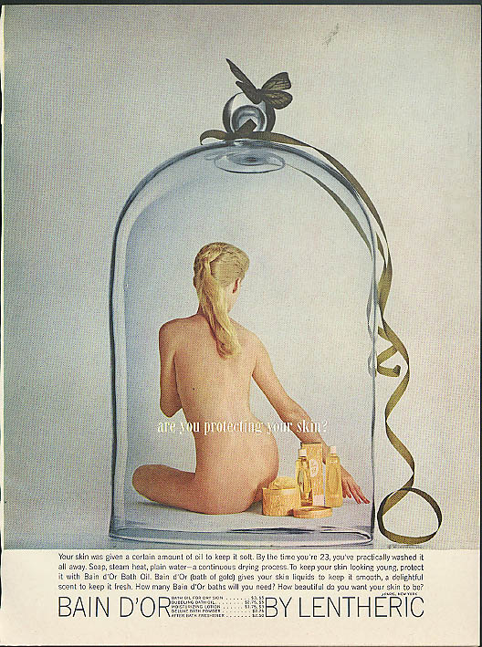 Are you protecting your skin? Bain d'Or Lentheric ad 1960 nude in bell jar