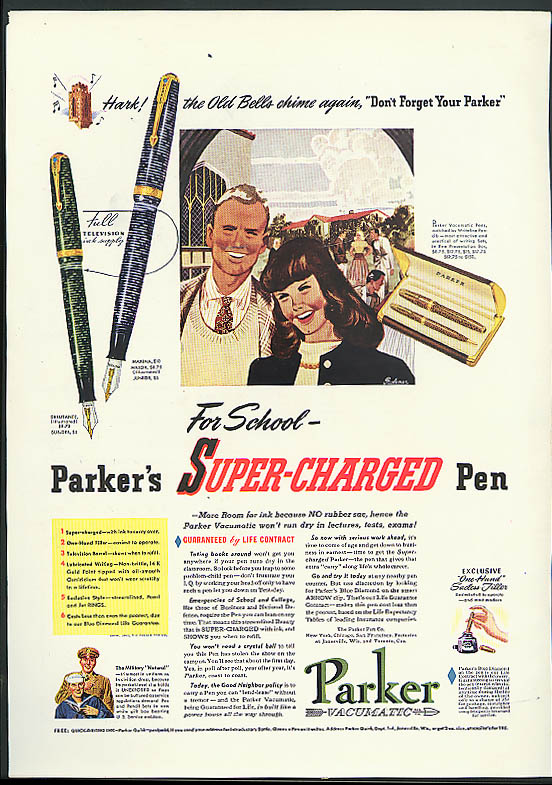Image for For School - Parker's Super-Charged Fountain Pen ad 1941