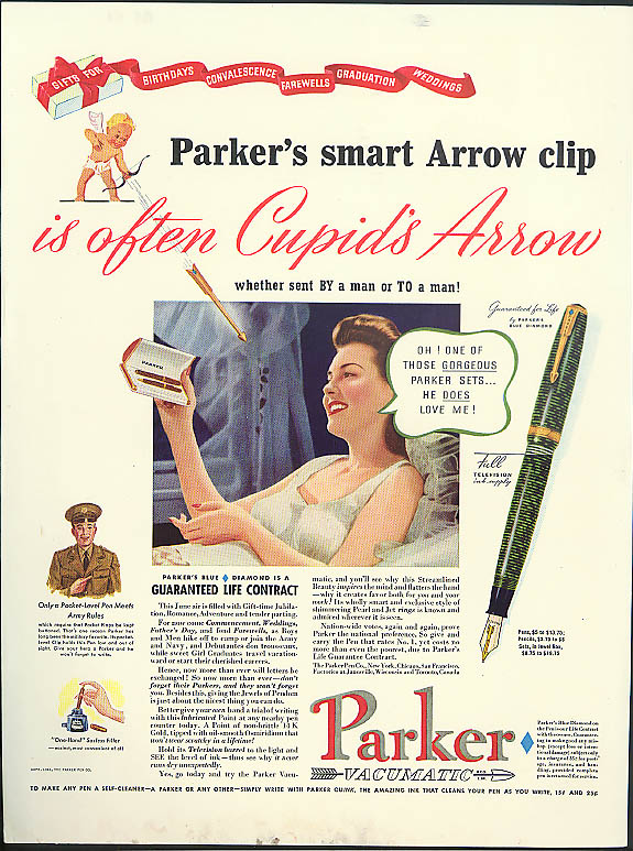 Image for Parker's Arrow Clip is often Cupid's Arrow Fountain Pen ad 1941