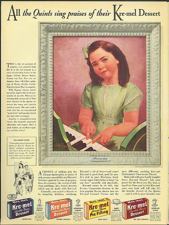 Annette Dionne Quintuplets Kre-Mel Dessert Mix ad 1941