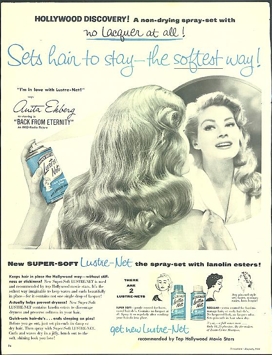 Anita Ekberg in Back from Eternity for Lustre-Net Hair Spray ad 1956