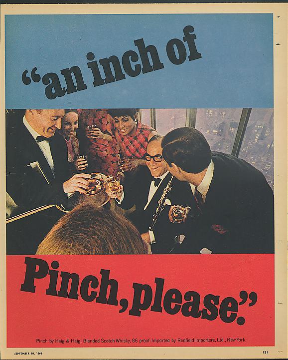 An Inch of Pinch, please Benny Goodman for Haig & Haig Scotch Whisky ad 1966