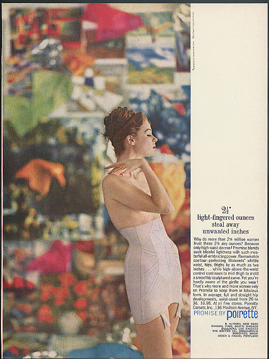 2 1/2 light-fingered ounces steal away unwanted inches Poirette Girdle ad 1960