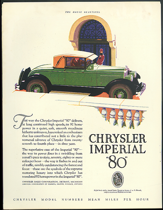 Image for The way the Chrysler Imperial 80 delivers at long continued speeds ad 1927