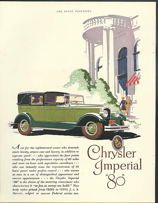 A car for the sophisticated owner Chrysler Imperial 80 ad 1927