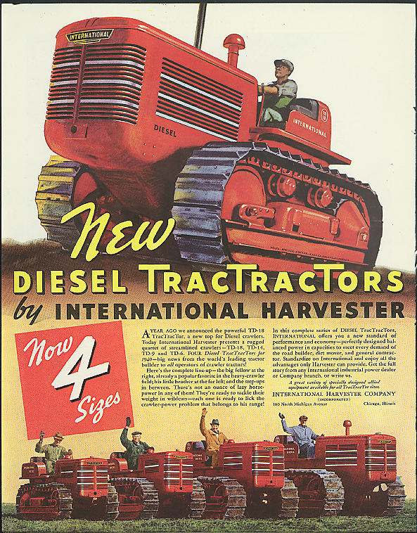 Image for New International TracTractor / Champion Spark Plug Lincoln Zephyr ad 1940 Helck
