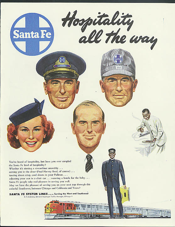 Hopsitality all the way Santa Fe Railroad ad 1949