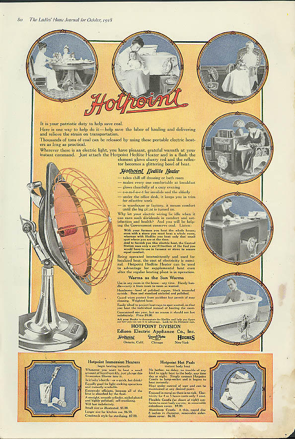 Image for It is your patriotic duty to save coal. Hotpoint Hedlite Electric Heater ad 1918