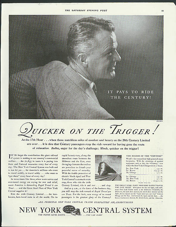 Image for Quicker on the Trigger! New York Central 20th Century Limited ad 1935 Steichen