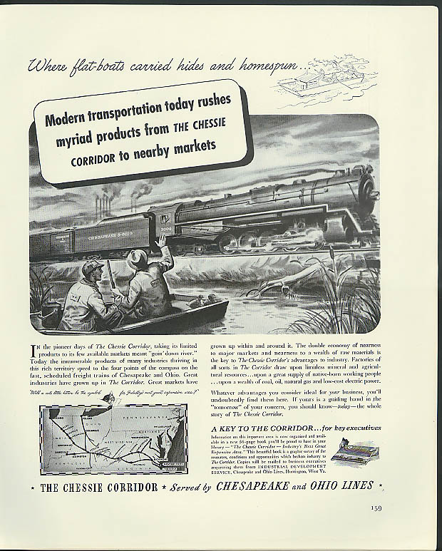 Image for Modern transportation Chesapeake & Ohio Lines 2-10-4 #3004 ad 1941