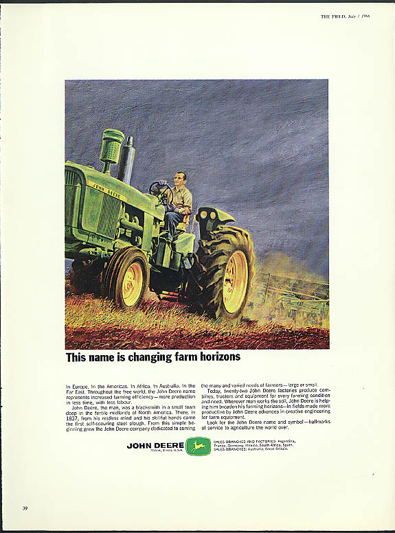Image for This name is changing farm horizons John Deere ad 1966 British ad