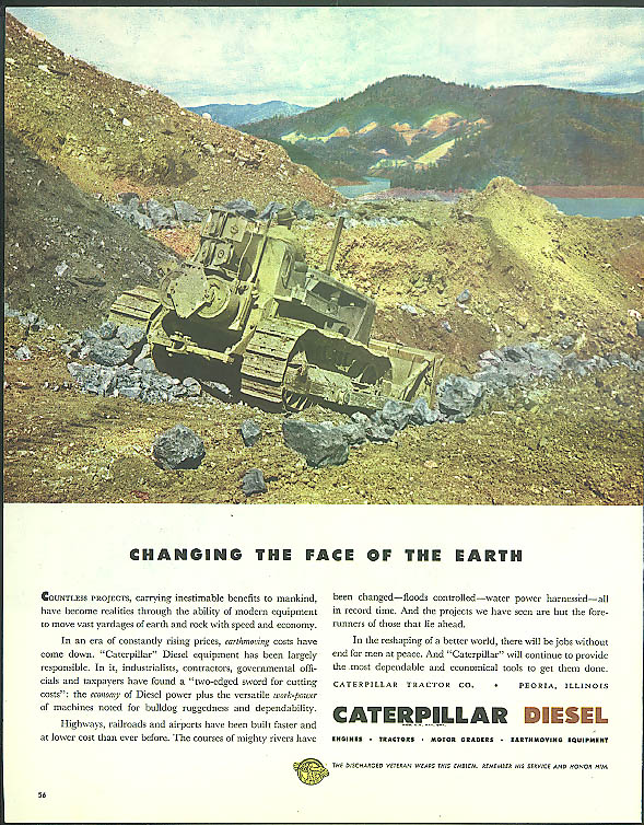 Changing the face of the earth Caterpilalr Diesel Bulldozer ad 1945