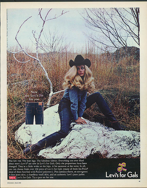 Image for The low rise The lean legs Levi's for Gals designer jeans ad 1969