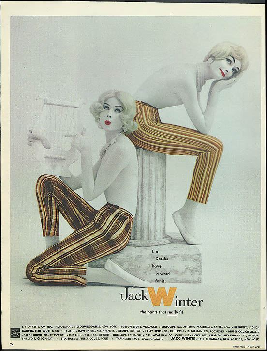 Image for The Greeks have a word for it Jack Winter Pants for Ladies ad 1960 topless