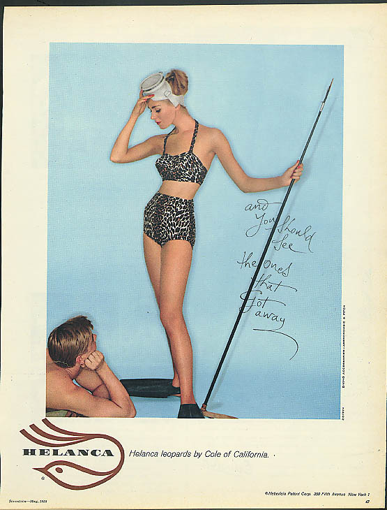 And you should see the ones that got away Helanca Leopard Cole Swimsuit ad 1958