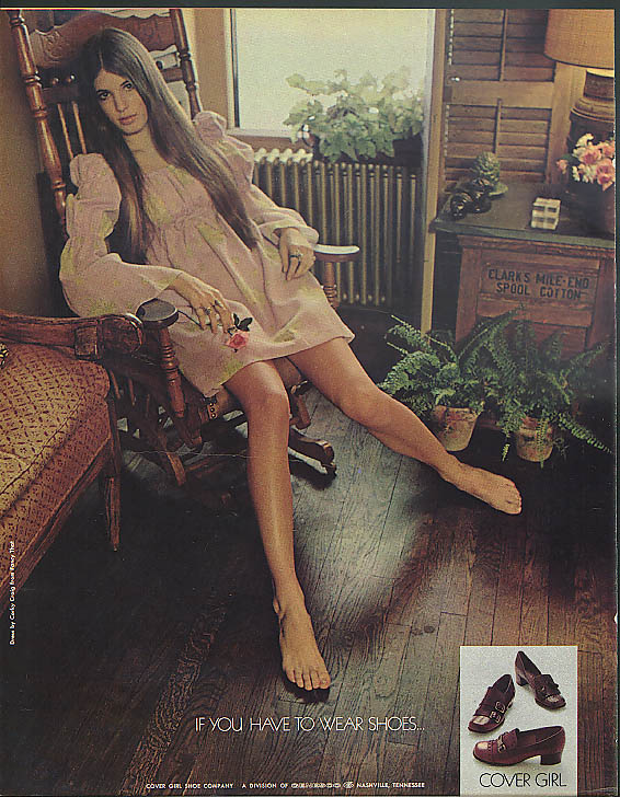 Image for If you have to wear shoes . . . Cover Girl ad 1969 short skirt rocking chair