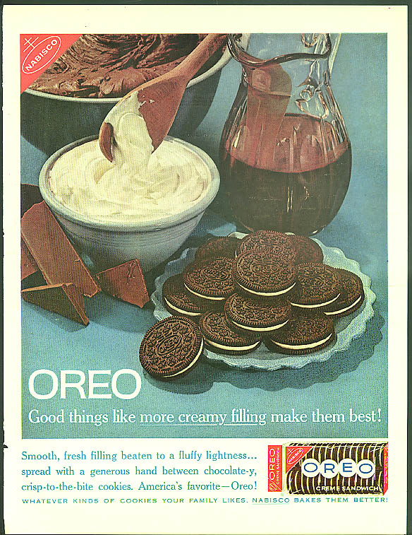 Image for Good things like more creamy filling make them best! Nabisco Oreos ad 1961