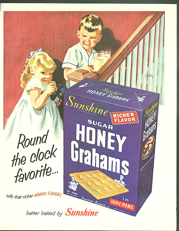 Image for Round the clock favorite Sunshine Honey Grahams ad 1954 kids on stairs