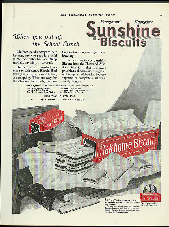Image for When you put up the School Lunch Sunshine Tak-hom-a Biscuit ad 1921