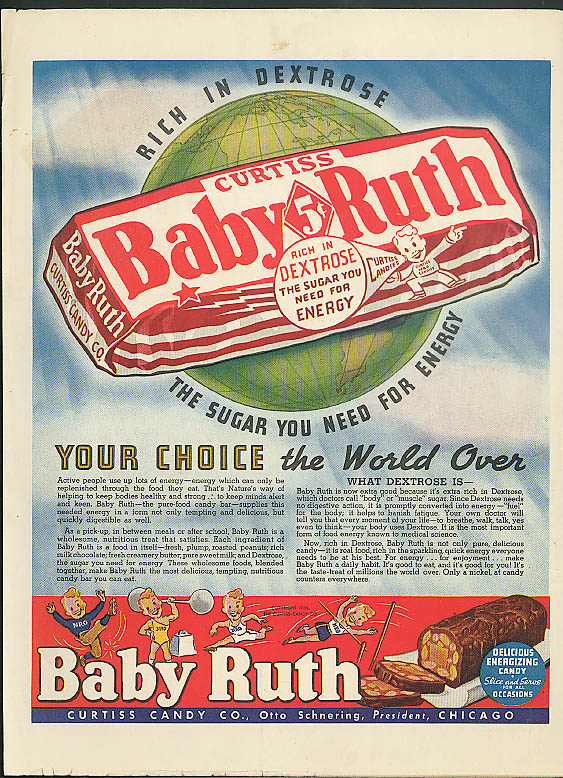 Image for Your Choice the World Over Baby Ruth Candy Bar ad 1939