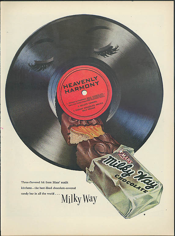 Heavenly Harmony Milky Way Candy Bar ad 1955 phonograph record