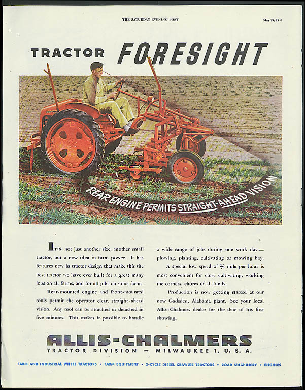 Image for Tractor Foresight Allis-Chalmers / United Air Lines to more lands ad 1948