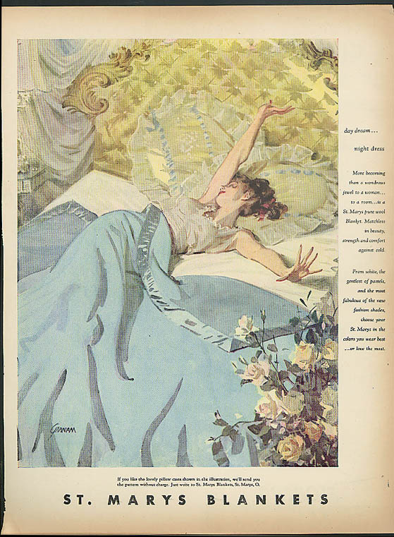 Day dream - night dress St Mary's Blankets ad 1948 Gannam pin-up in bed